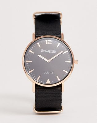Stratford mens black strap watch with rose gold tone case