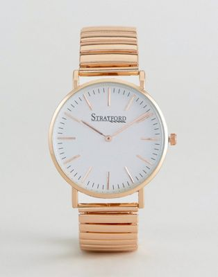 Stratford Watch With White Dial and Gold Strap
