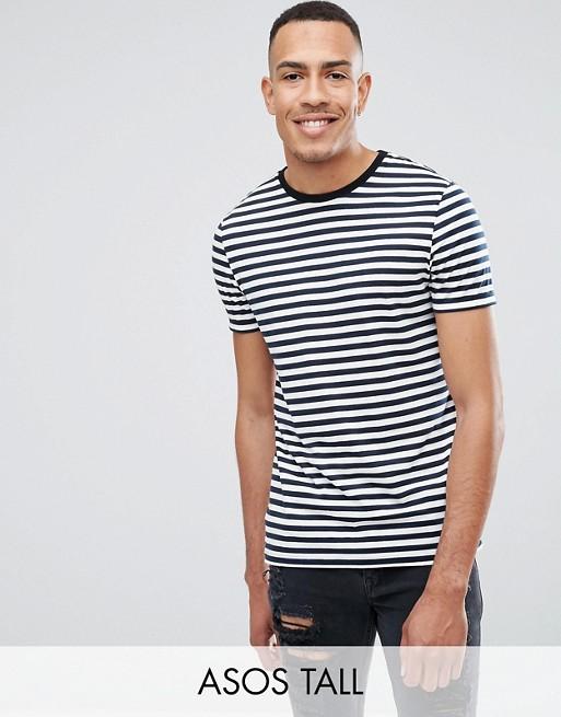 Stribet t-shirt i navy og hvid fra ASOS DESIGN Tall