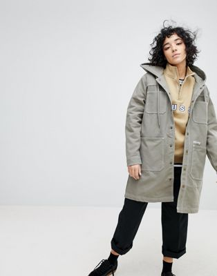Stussy Longline Hooded Coat With Logo