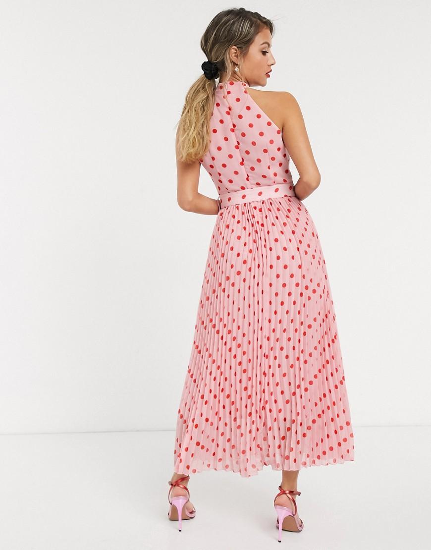 Rosa donna Vestito al polpaccio allacciato al collo a pieghe con cintura a pois rosa a contrasto - Style Cheat moda abbigliamento - immagine 3