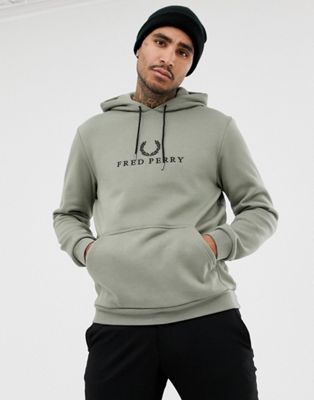 Sudadera con capucha y logo bordado estilo años 90 en caqui claro Sports Authentic de Fred Perry