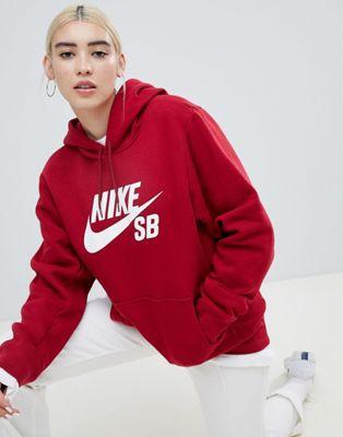 Sudadera con capucha y logo en rojo de Nike SB