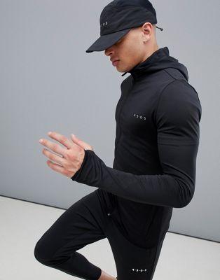 Sudadera deportiva con capucha ajustada negra en tejido de secado rápido de ASOS 4505