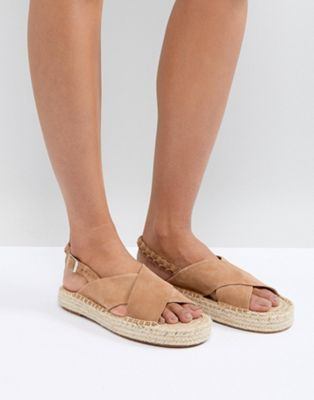 Suncoo Cross Front Flat Sandals in Suede