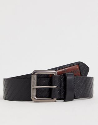 Superdry Badgeman leather all over logo belt in black