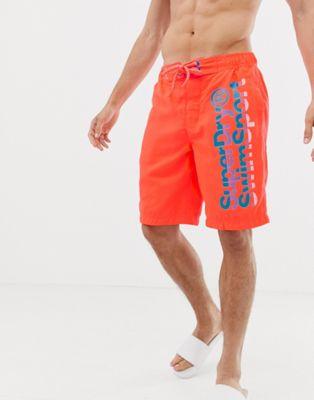 Superdry - Boardshorts avec logo - Orange