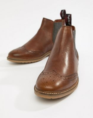 Superdry Brad brogue chelsea boots in distressed tan