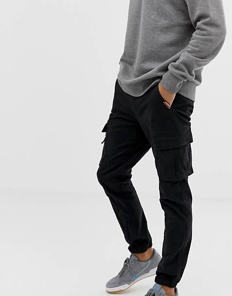 Superdry cargo cuffed pants in black