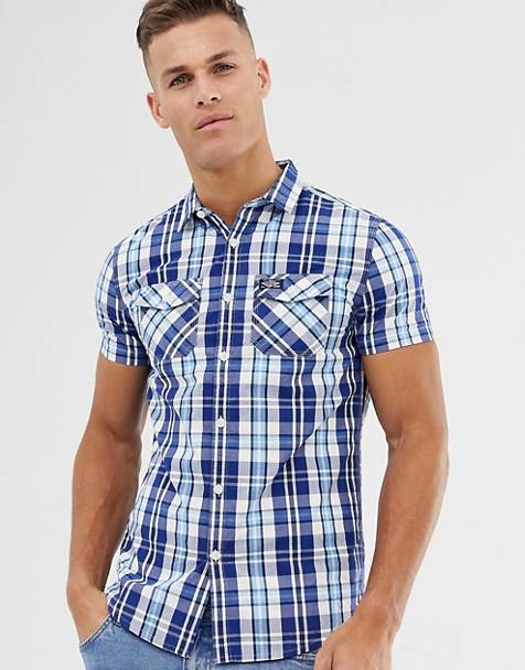 Superdry check short sleeve shirt in blue
