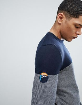 Superdry Crew Neck Jumper With Contrast Chest In Navy