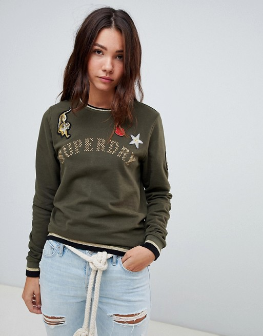 Superdry crew neck logo sweatshirt with badges