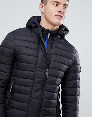 Superdry double zip hood jacket in black