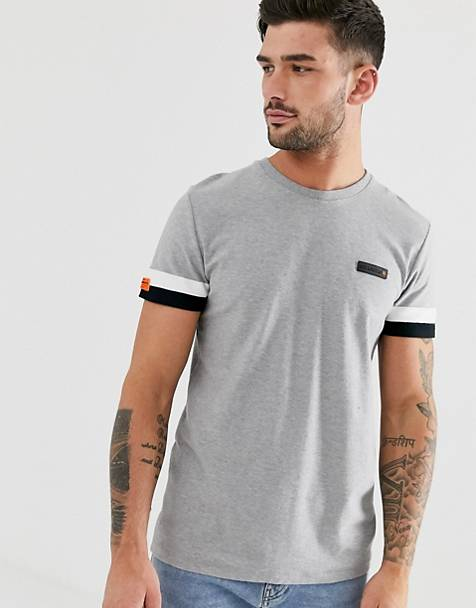 Superdry International engineered t-shirt in gray