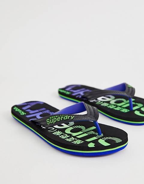 Superdry logo flip flops in black/blue