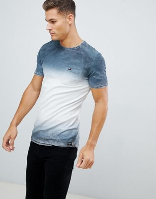 Superdry longline t-shirt with fade print in grey