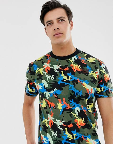 Superdry multi camo print t-shirt in black