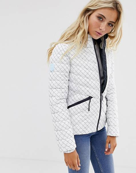 Superdry multi logo padded jacket in print with hood