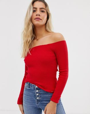 Image 1 of Superdry off the shoulder knit sweater