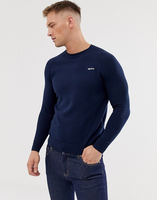 Image 1 of Superdry Orange cotton sweater with crew neck in navy