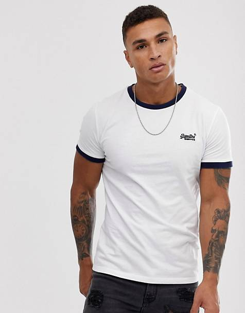 Superdry Orange Label embroidered logo roll sleeve t-shirt in white