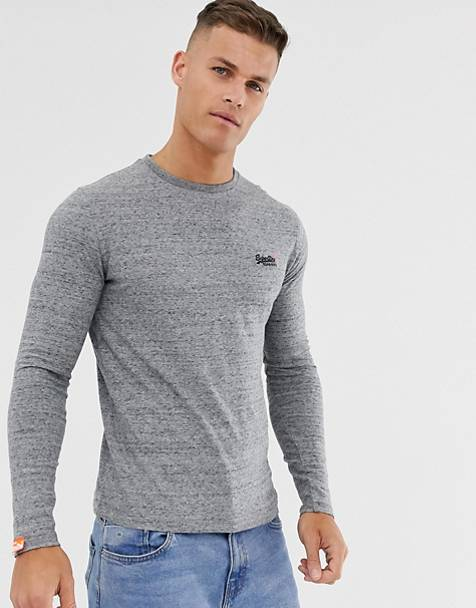 Superdry Orange long sleeve top with embroidery in gray