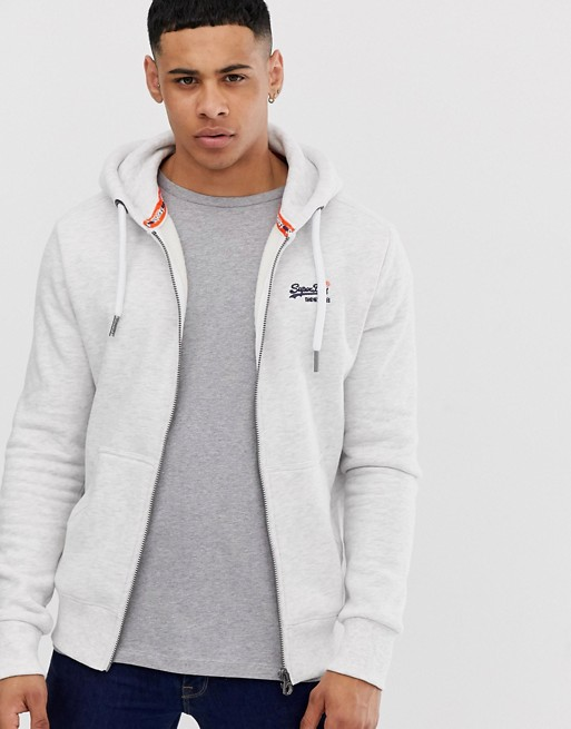 Superdry Orange Zip Through Hoodie In Gray by Superdry