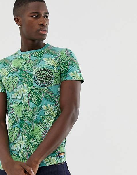 Superdry palm print logo t-shirt in green