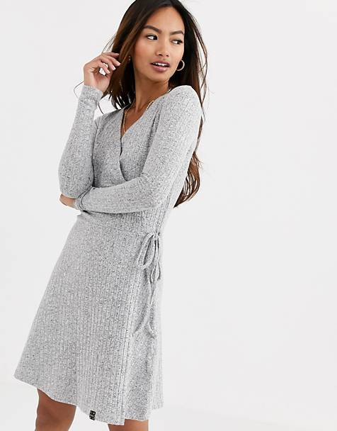 Superdry ribbed wrap dress