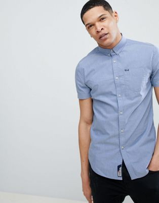 Superdry Short Sleeve Oxford Shirt In Blue