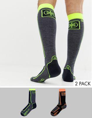 Superdry – Snow – Schwarze Socken aus Merinowolle im 2er-Pack