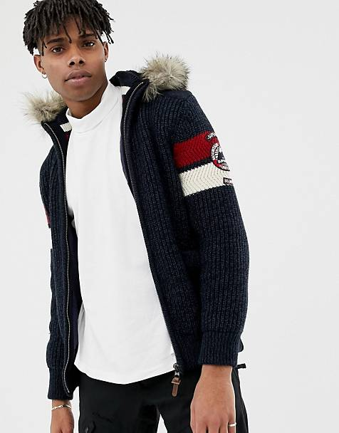 Superdry Super ski dog hooded zip-thru knit with faux fur trim in navy