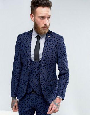 Супероблегающий пиджак с леопардовым флоковым узором Noose & Monkey