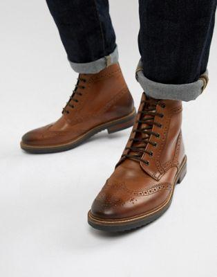 Светло-коричневые кожаные ботинки-броги Base London Hopkins
