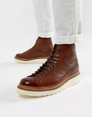 Светло-коричневые кожаные ботинки на шнуровке Grenson Andy
