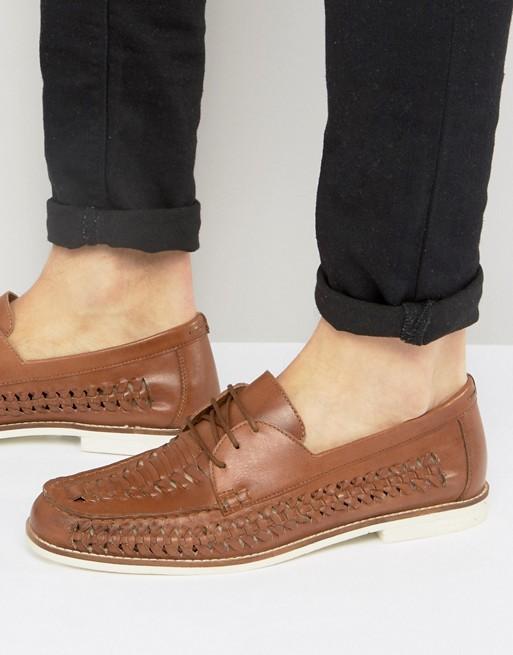 Светло-коричневые кожаные плетеные туфли KG By Kurt Geiger