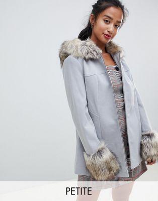 Светло-серое пальто свободного кроя с отделкой искусственным мехом Miss Selfridge Petite