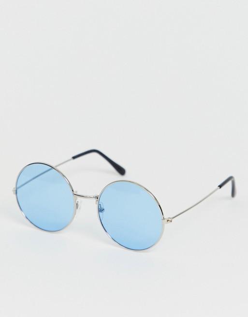 SVNX – Blå solglasögon med runda bågar