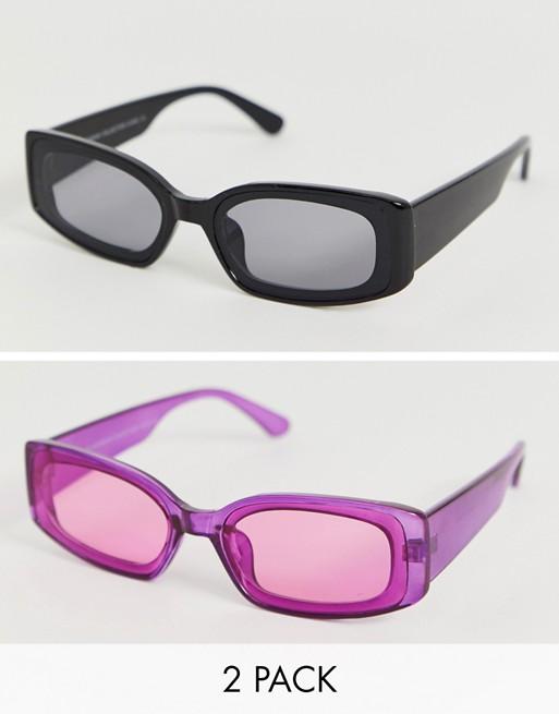 SVNX – Farbige Katzenaugen-Sonnenbrille im 2er-Pack