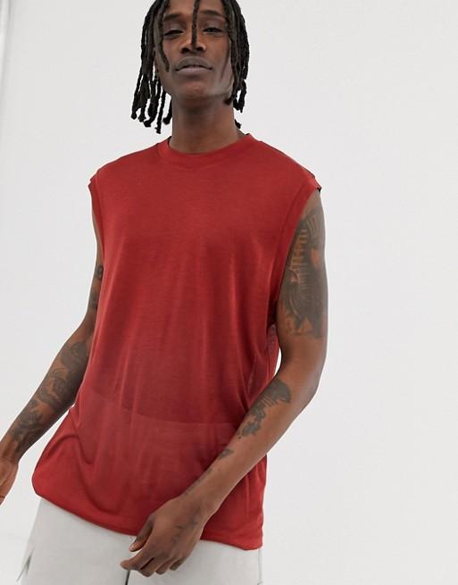 Изображение 1 из Свободная футболка без рукавов ASOS WHITE