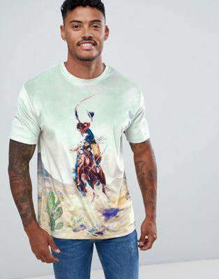 """Свободная велюровая футболка со сплошным принтом """"rodeo"""" ASOS DESIGN"""