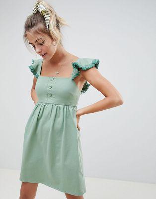 Свободное платье с оборкой на рукавах и кисточками ASOS DESIGN