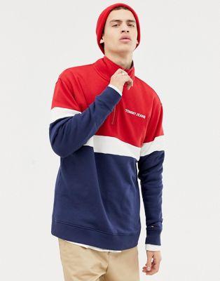 Свободный свитшот в стиле ретро с короткой молнией (красный/белый/темно-синий) Tommy Jeans