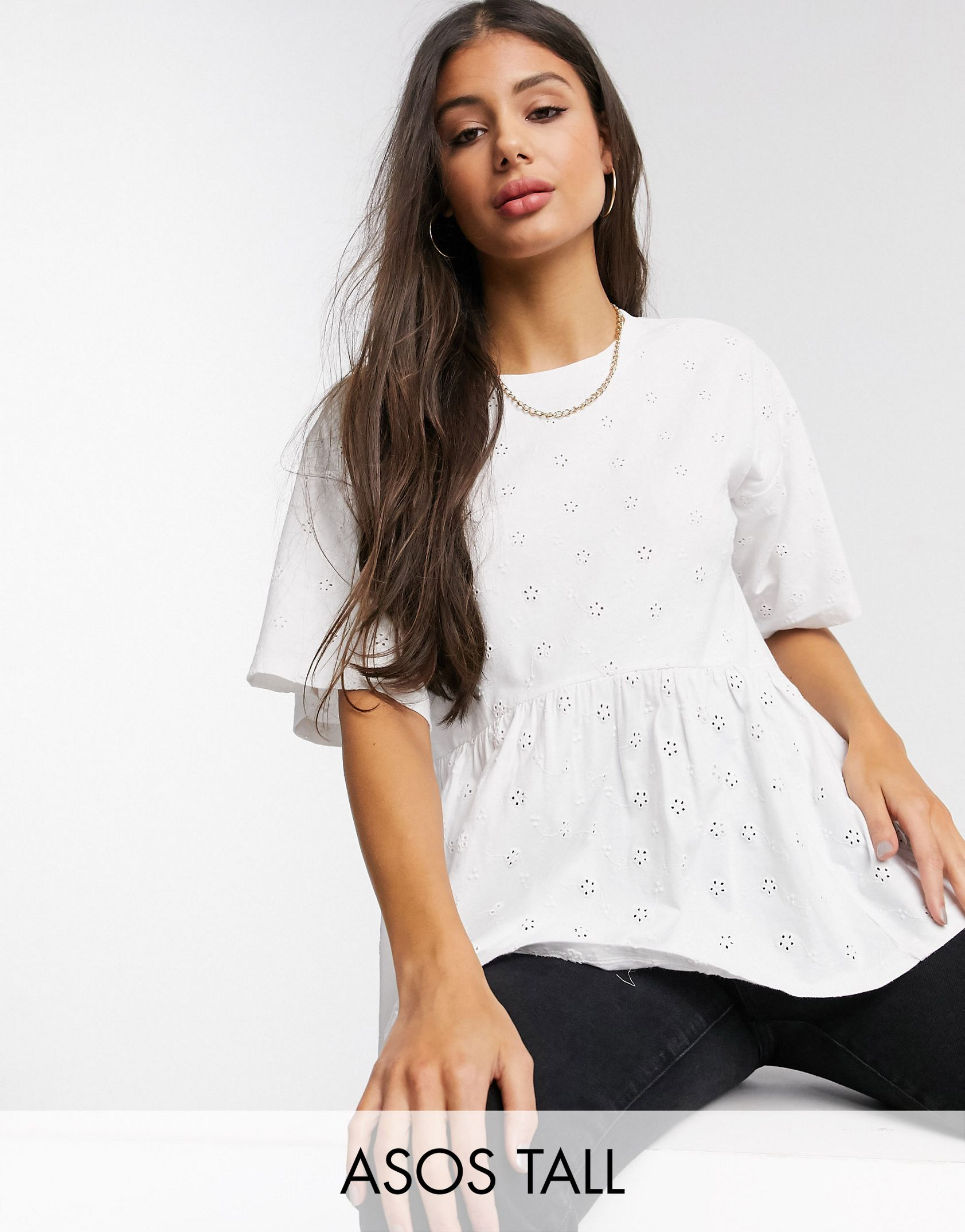 ASOS DESIGN Tall smock top in all over broidery - ASOS Price Checker