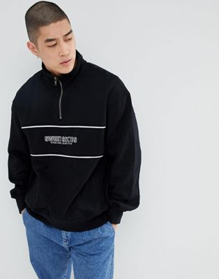 Sweet SKTBS 1/4 Zip Sweat In Black