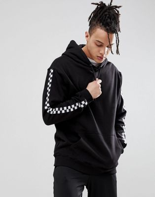 SWEET SKTBS Hoodie With Checkerboard Panel In Black