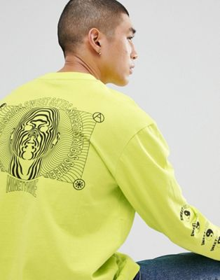Sweet SKTBS Long Sleeve T-Shirt With Psychedelic Back Print In Lime