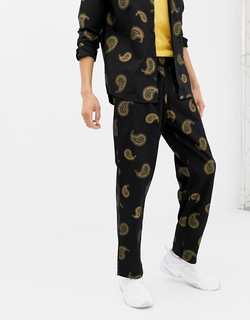 SWEET SKTBS X Ali Boulala Paisley Print Pants in Black