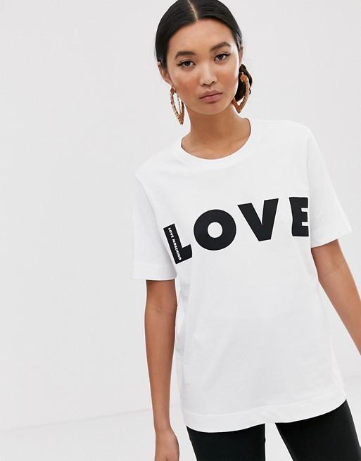 T-shirt med Love-print fra Love Moschino