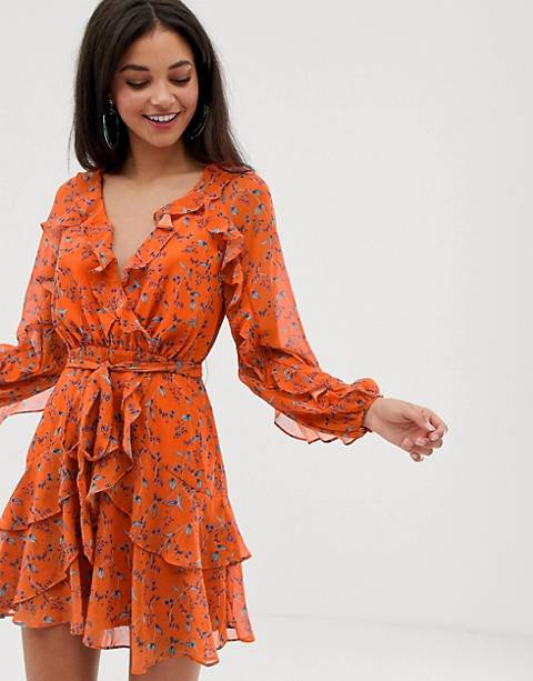 Talulah Daring Day floral print ruffle wrap dress